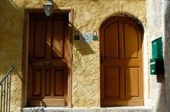 Doors of Sant Martin Vesubie, France stock photo