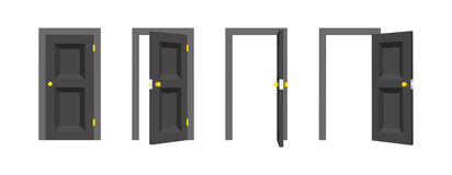 Doors set. Front view opened and closed the door. Isolated vector illustration. Doors set. Front view opened and closed the door. Isolated vector illustration Royalty Free Stock Images