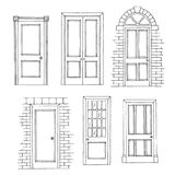 Doors set graphic black white isolated sketch illustration. Vector Stock Images