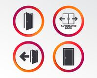Doors signs. Emergency exit with arrow symbol. Automatic door icon. Emergency exit with arrow symbols. Fire exit signs. Infographic design buttons. Circle Stock Photography