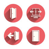 Doors signs. Emergency exit with arrow symbol. Automatic door icon. Emergency exit with arrow symbols. Fire exit signs. Pink circles flat buttons with shadow Stock Photography