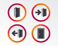 Doors signs. Emergency exit with arrow symbol. Doors icons. Emergency exit with arrow symbols. Fire exit signs. Infographic design buttons. Circle templates Stock Image