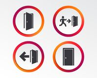 Doors signs. Emergency exit with arrow symbol. Doors icons. Emergency exit with human figure and arrow symbols. Fire exit signs. Infographic design buttons Stock Image