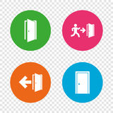 Doors signs. Emergency exit with arrow symbol. Doors icons. Emergency exit with human figure and arrow symbols. Fire exit signs. Round buttons on transparent Stock Photography