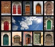Doors and sky. Colorful composition made of door and blue sky - architecture collage. Doors from Czech Republic, France, Switzerland, Germany and Netherlands Stock Photo
