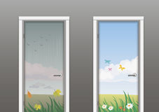 The doors in the summer and autumn Stock Images