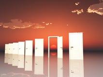 Doors in surreal landscape. Single open door in surreal landscape with setting or rising sun Stock Photo