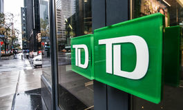 Doors of a TD Bank branch in New York City. Stock Image