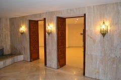 Doors to the hamam in Hassan II mosque in Casablanca Morocco. Royalty Free Stock Image