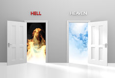 Doors to heaven and hell representing Christian belief and afterlife. Concept for spirituality and life after death with open doors leading to heaven or hell Royalty Free Stock Photography