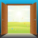 Doors to Nature Vector. Beauty Landscape Behind the Opened Doors. 3D Vector Illustration Royalty Free Stock Images
