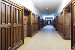 Doors to an optical laboratory. In the Faculty of Physics in Moscow State University which was built in 1952 royalty free stock images
