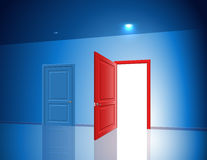 Doors Two Choice Variant Light Open Closed Room Chance Royalty Free Stock Photo