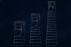 Doors up sets of stairs at different heights and effort levels, Stock Images