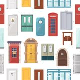 Doors vector set house doorway front entrance to house and building in flat style doorstep decoration elements. Illustration seamless pattern background Stock Images