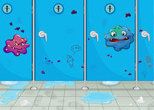 Doors of wash-room and a monster. Illustration of doors of wash-room and a monster Royalty Free Stock Image