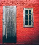 Doors and window Texture old red  wall background.  Royalty Free Stock Photography