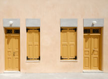 Doors and windows. Two doors and windows in Santorini, Greece Stock Photography