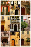 Doors and Windows. Collage of doors and windows Stock Photos
