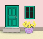 Doors, Windows and Flower Pots. Royalty Free Stock Photo