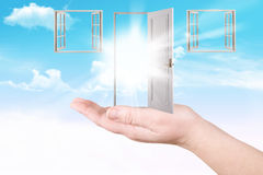 Doors and windows on a palm Stock Images