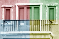 Doors and windows. Pictures of doors and windows are decorated color in quadrant colors Royalty Free Stock Image