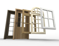 Doors and windows selection. Selection of doors and windows with a white background Stock Images