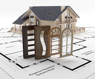 Doors and windows to the house. Energy isolation. Building a house following protocols renewable energy and energy saving Royalty Free Stock Photos
