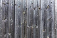 Doorstaan oud grijs houten omheiningsclose-up Stock Foto's
