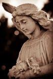 Doorstane jonge engel in sepia royalty-vrije stock afbeelding