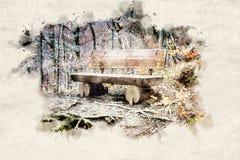 Doorstane oude houten bank in het bos royalty-vrije stock foto