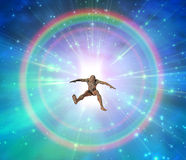 Doorway. Of light with electronic man Stock Image