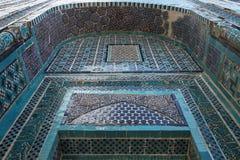 Doorway arch. Tile decorated doorway in the shakhizinda mausoleum complex of samarkand, uzbekistan royalty free stock image