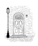Doorway  background. House door entrance hand drawing illustrati. Old doors in vintage style over white background. House entrance hand drawing illustration Stock Photography