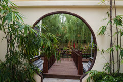Doorway in beautiful chinese garden Stock Photo