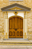Doorway. A beautiful wooden doorway into an old church in a small rural Wisconsin town Royalty Free Stock Images