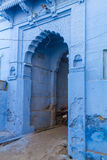 A doorway in the blue city. An old doorway in the famous blue city of Jodhpur, India Royalty Free Stock Photos