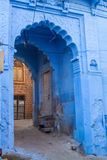 A doorway in the blue city. An old doorway in the famous blue city of Jodhpur, India Stock Photography
