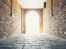 Doorway Brick wall architecture Vault with Lighting Royalty Free Stock Photography