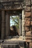 Doorway with carved lintel at the 10th Century East Mebon temple. Scene around the Angkor Archaeological Park. The site contains the remains of the different Stock Photo