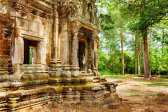 Doorway with carving of Thommanon temple in Angkor, Cambodia Royalty Free Stock Images