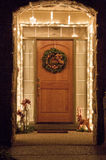 Doorway at Christmas with Wreath Stock Images