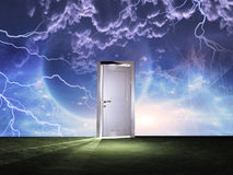 Doorway before cosmic sky Stock Photography