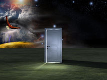 Doorway before cosmic sky. And landscape with eagle in flight Royalty Free Stock Image