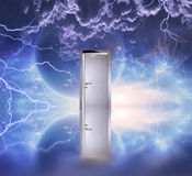 Doorway before cosmic sky Royalty Free Stock Photos