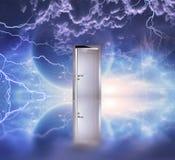 Doorway before cosmic sky Royalty Free Stock Photos