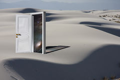 Doorway with Cosmos in White Desert Stock Image