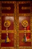 Doorway of Drubgon Jangchup Choeling Tibetan Temple, Kathmandu, Nepal Stock Photos