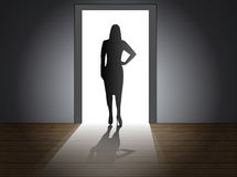 Doorway female. Light shines brightly through the doorway, eps10 vector Stock Photography
