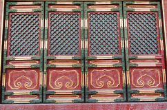 Doorway in historical architecture in Forbidden City Stock Photo